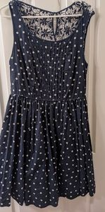 Anthropologie polkadot lace back fit n flare dress